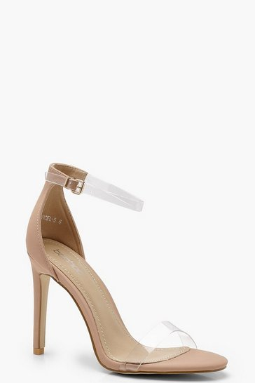Nude Clear Band 2 Part Heels