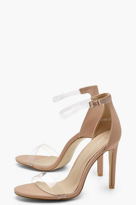 Clear Band 2 Part Heels by Boohoo