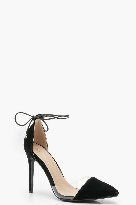 Molly Pointed Toe Clear Wrap Strap Heels