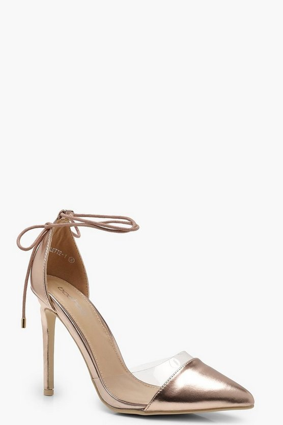 Pointed Toe Clear Wrap Strap Heels