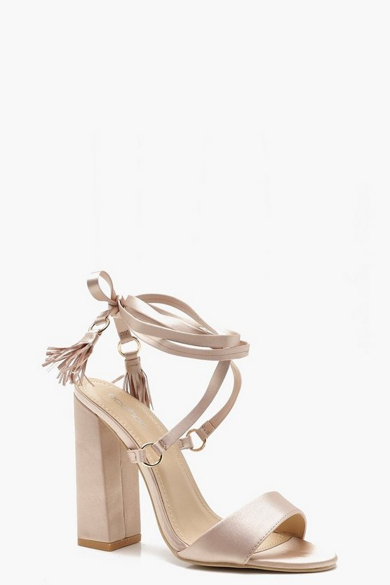 Flare Block Heel Wrap Strap Sandals