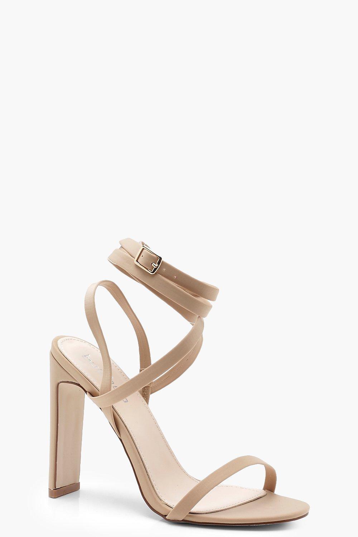 Купить со скидкой Узкие сандалии с ремешком вокруг ноги на квадратном каблуке