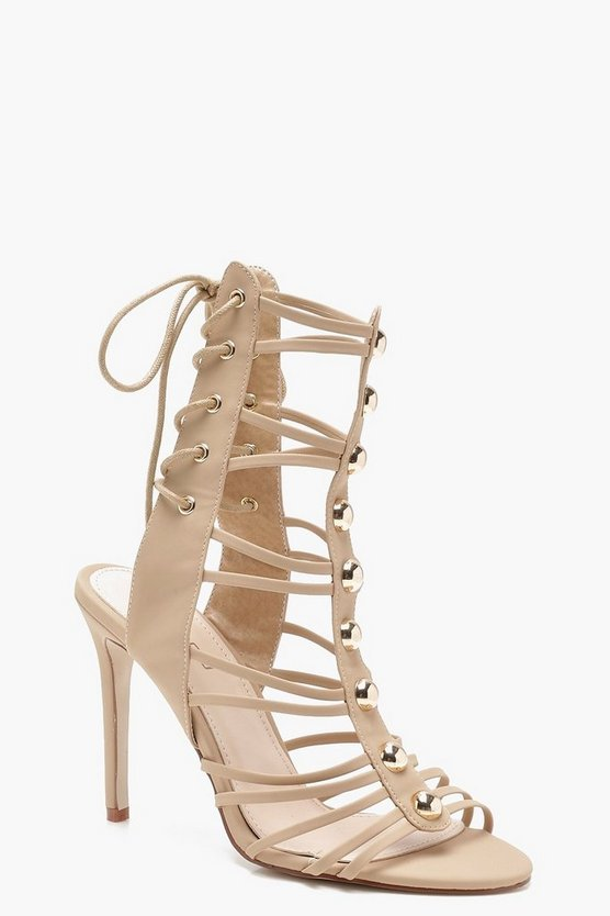 Cage Lace Up Back Gladiator Heels