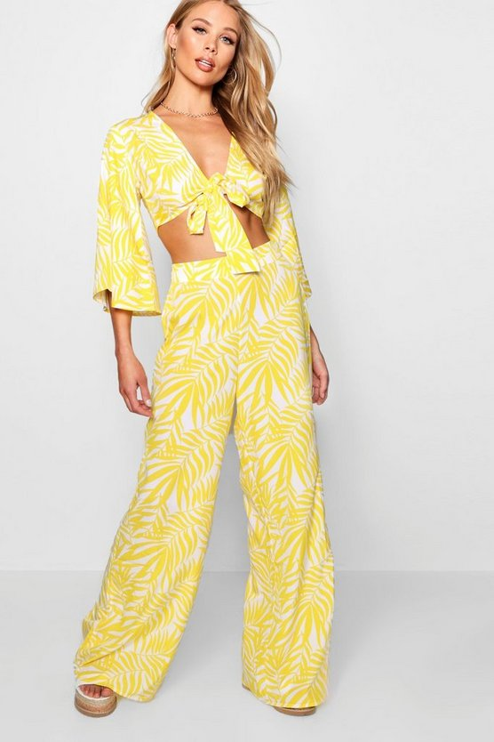 Nala Tie Top and Frill Front Wide Leg Co-ord