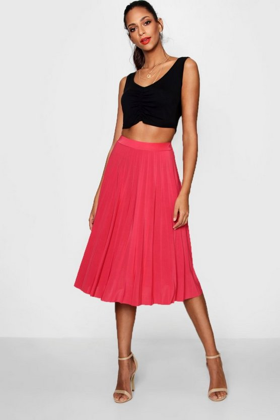 Pleated Slinky Midi Skirt