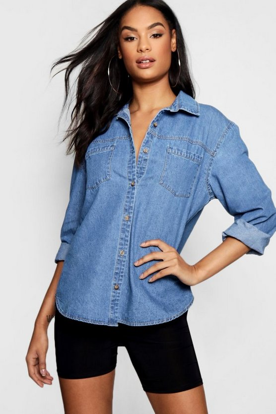 Gia Distressed Back Denim Shirt