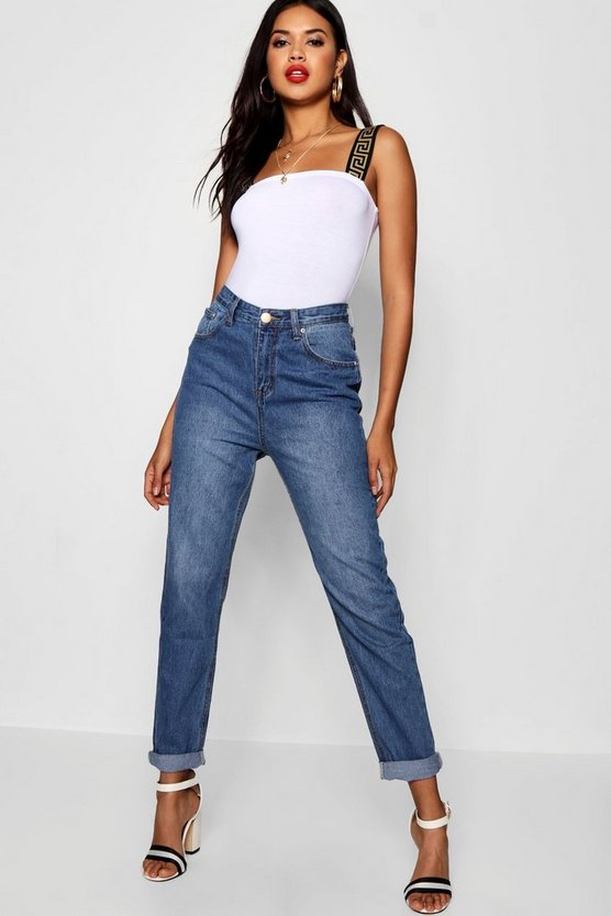High Rise Mid Wash Boyfriend Jeans