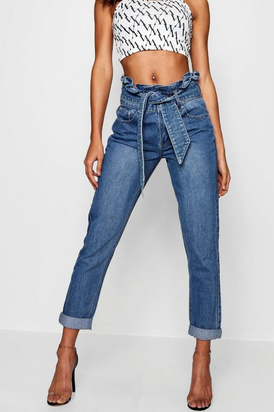 Ruffle High Rise Belt Detail Boyfriend Jean