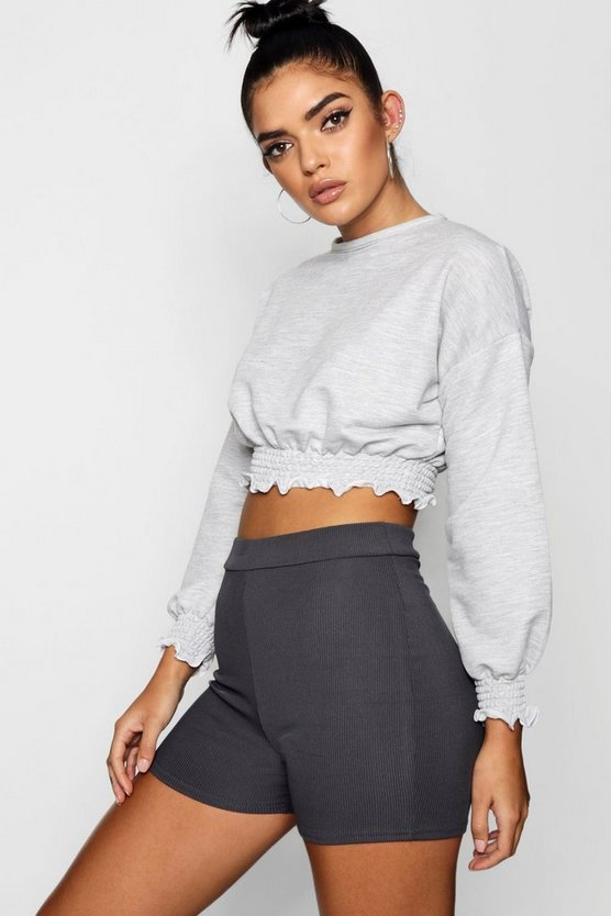 Emilie Shirred Crop Sweat