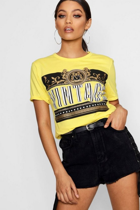 Chain Print Slogan T-Shirt