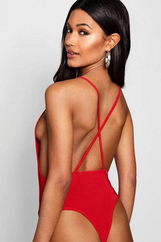 Square Neck Low Back Bodysuit by Boohoo