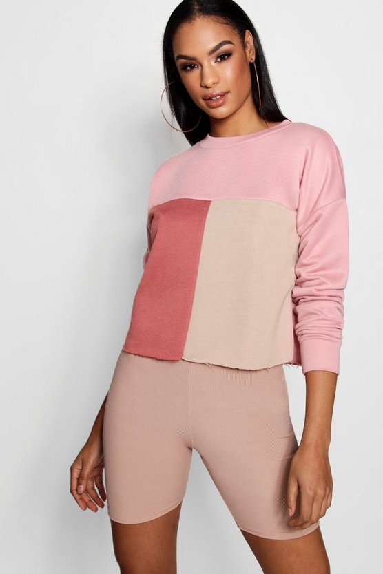Colour Block Tonal Boxy Sweat