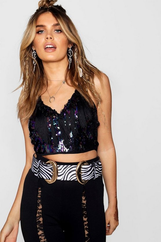 Yanni Sequin Tassel Halter Crop Top