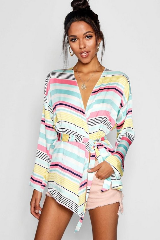 Candy Stripe Tie Waist Blouse