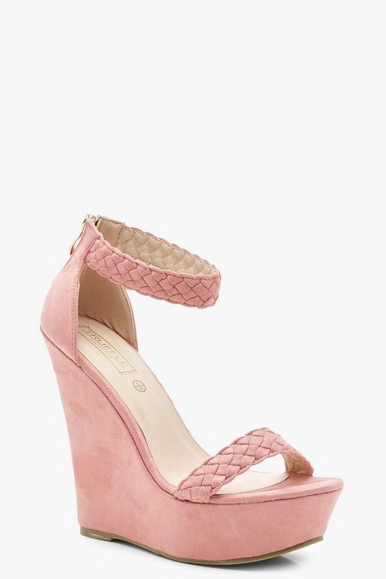 Evelyn Plaited Strap High Wedges