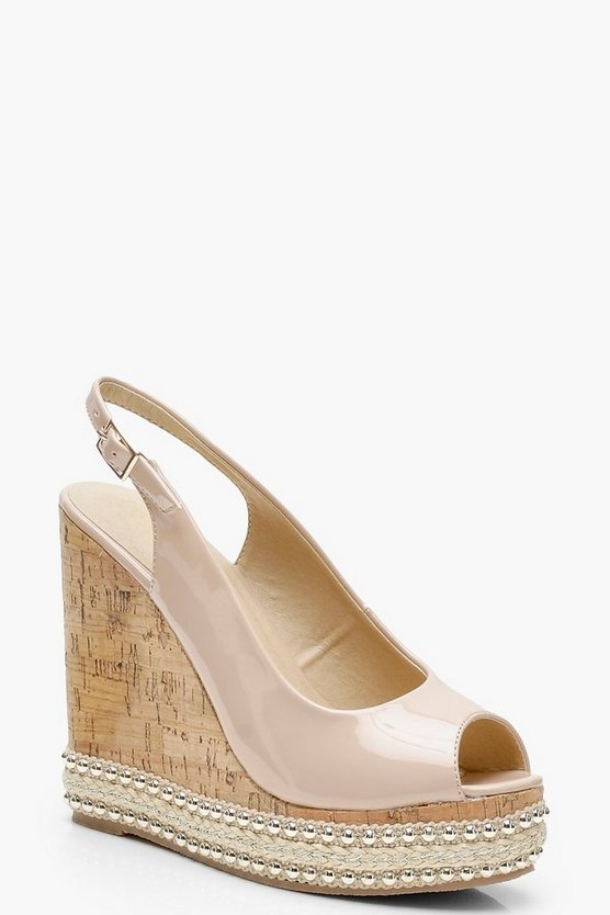 Peeptoe Sling Back Wedges