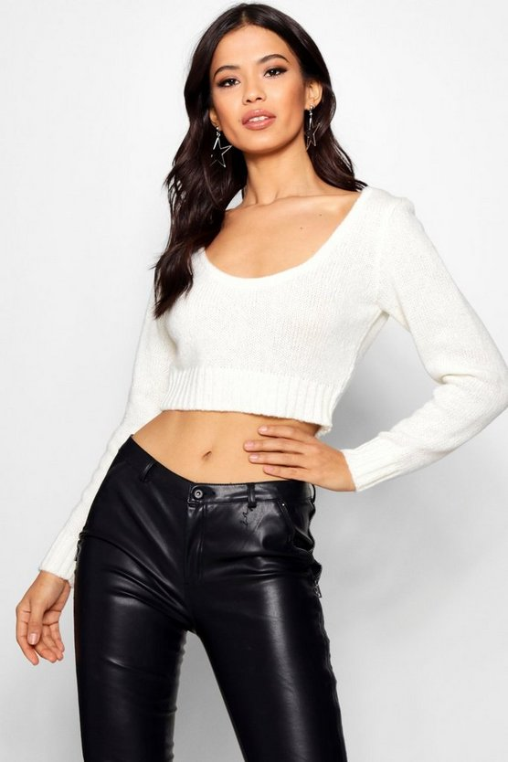 Katrina Soft Knit Slash Neck Crop Jumper