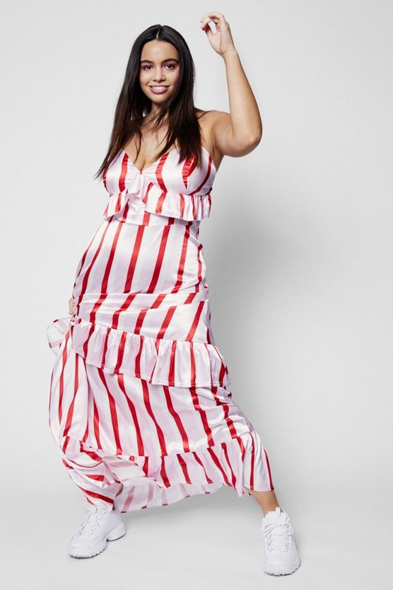 Zendaya Edit Stripe Satin Ruffle Maxi Dress