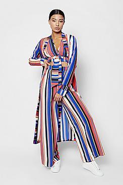 Zendaya Edit Stripe Maxi Duster Coat