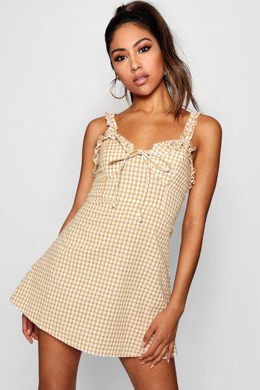 Mustard Ruffle Shoulder Gingham Mini Dress