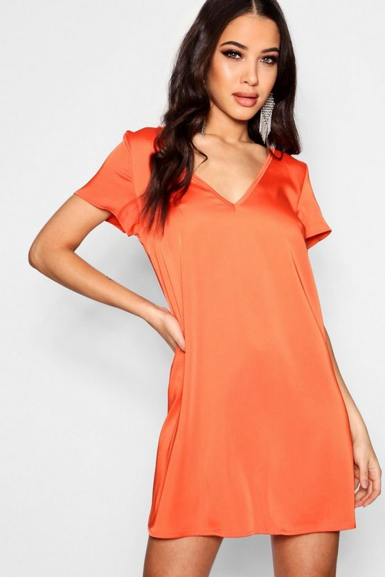 Gabby Plunge Woven Shift Dress