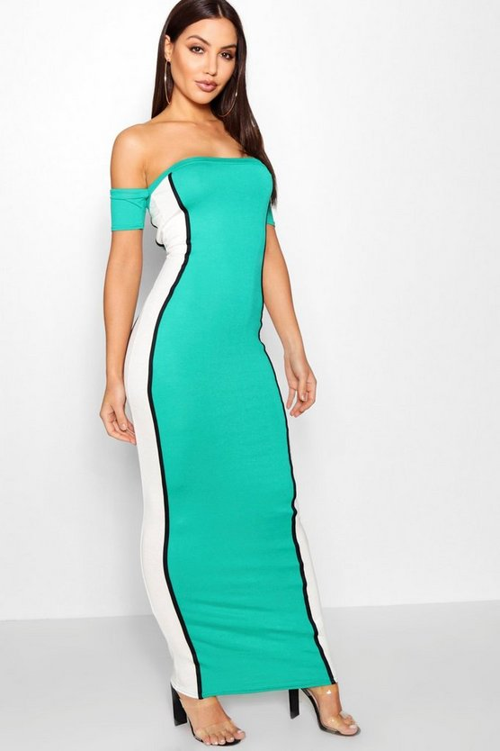 Off The Shoulder Colour Block Maxi Dress