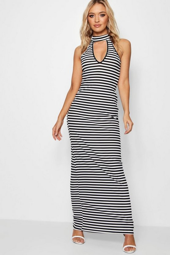 Cut Out Neckline Stripe Rib Maxi Dress