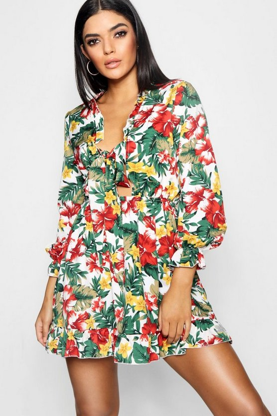 Saffie Tropical Print Satin Tie Front Tea Dress