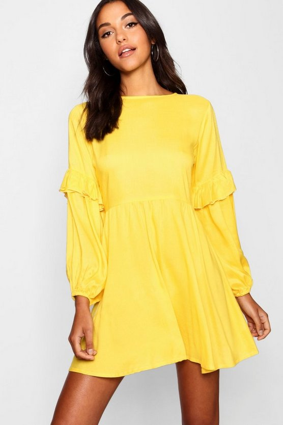 Liv Balloon Sleeve Tassel Trim Shift Dress