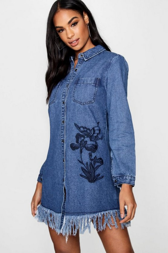 Emma Embroidered Denim Shirt Dress
