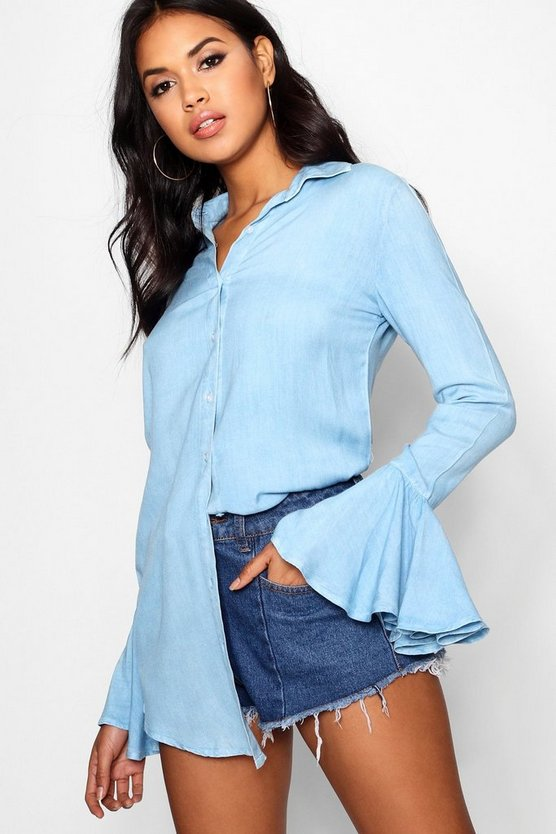 Frill Tie Sleeve Chambray Shirt