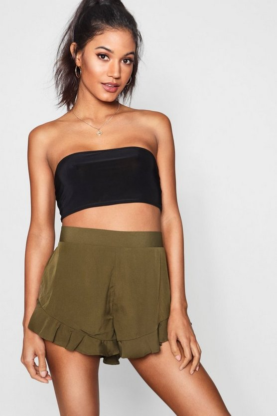 Solid Colour Ruffle Hem Shorts