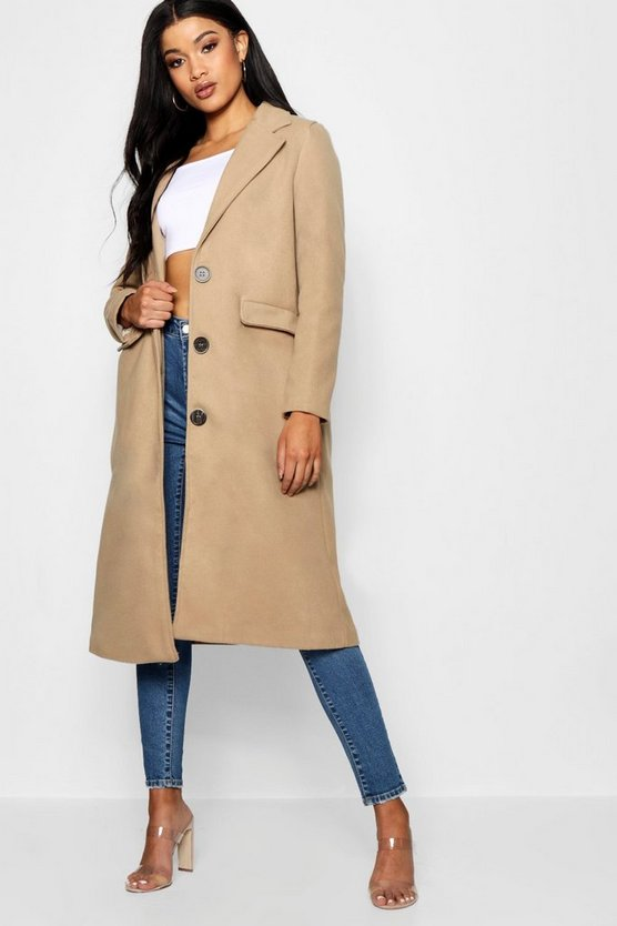 Collared Wool Look Coat With Lining