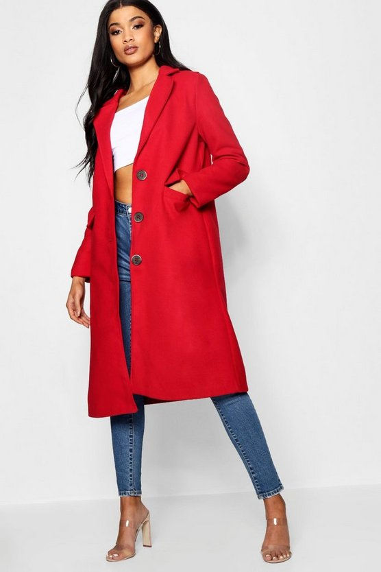Lola Collared Wool Look Coat With Lining