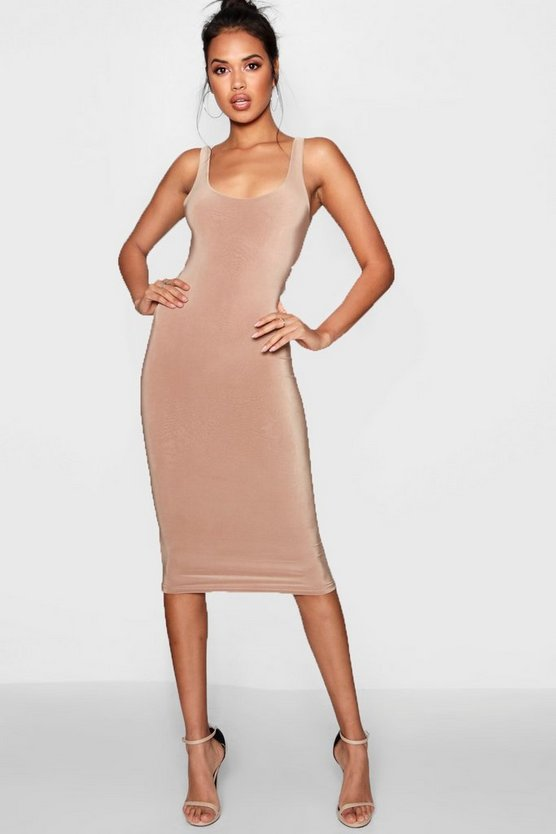 Double Layer Scoop Neck Midi Dress