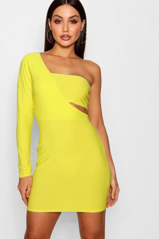One Shoulder Cut Work Bodycon Dress