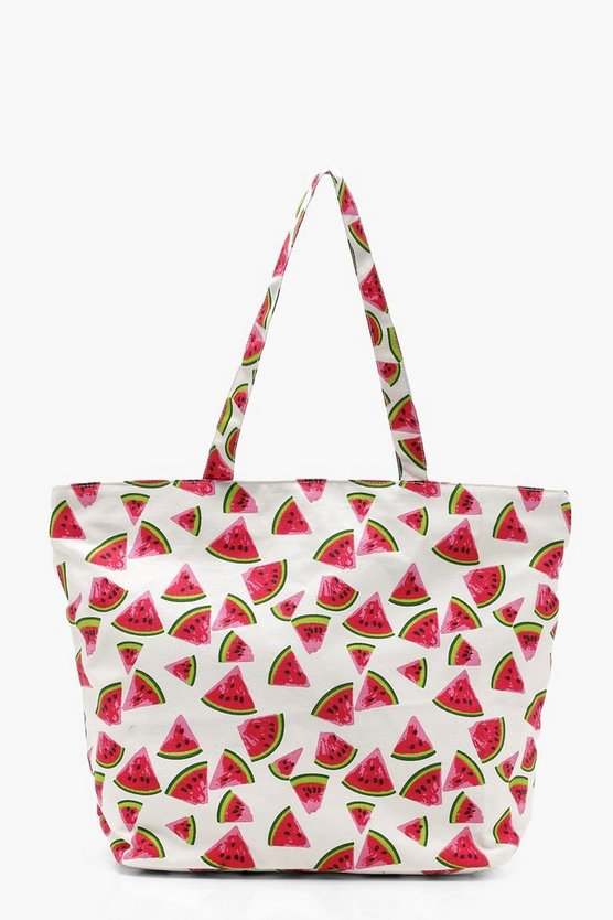 Sophia Watermelon Print Beach Bag by Boohoo