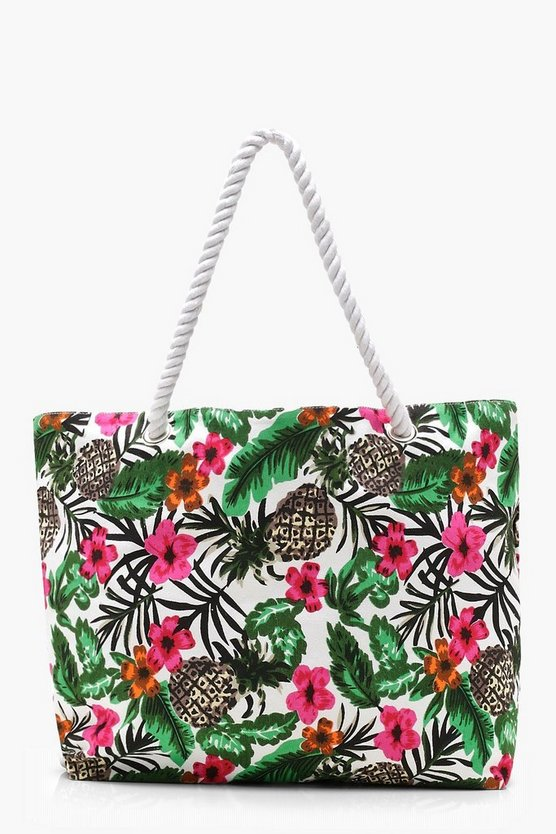 Kate Tropical Print Rope Handle Beach Bag by Boohoo