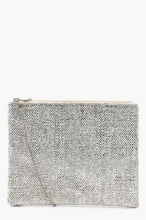 Metallic Woven Clutch With Chain