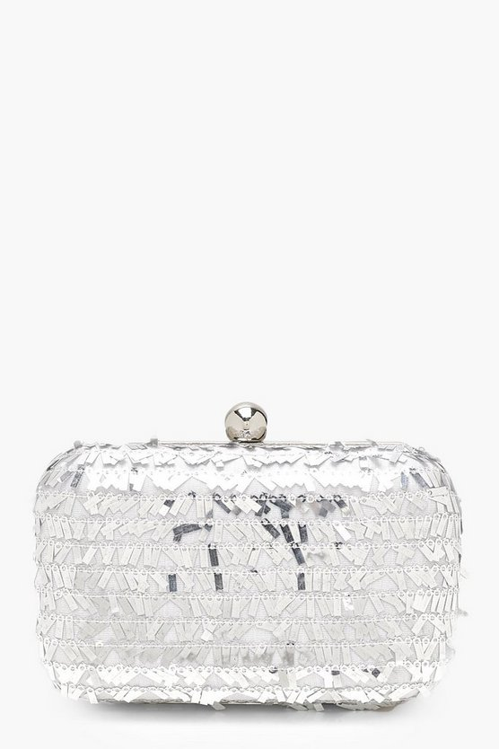 All Over Sequin Box Clutch