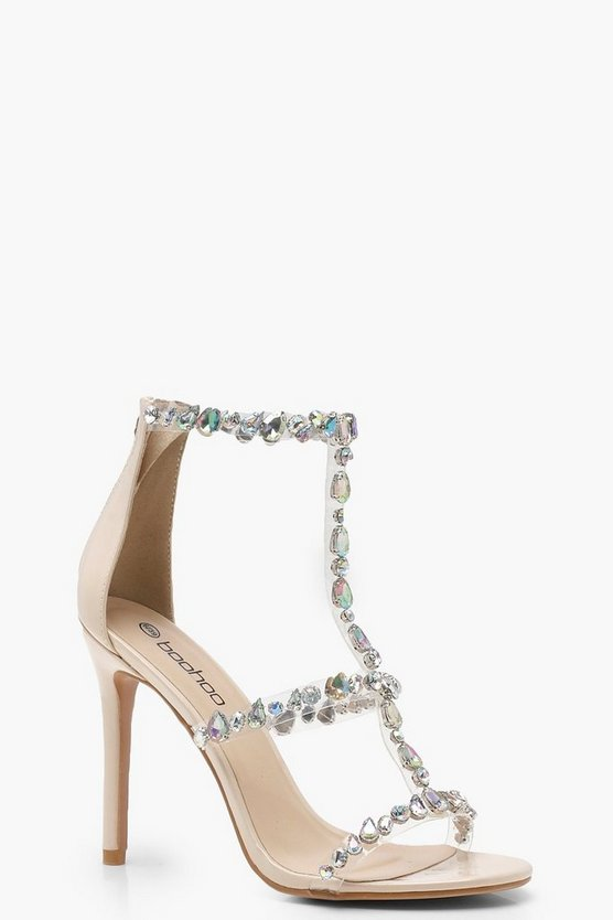 Patent Embellished Cage Sandals