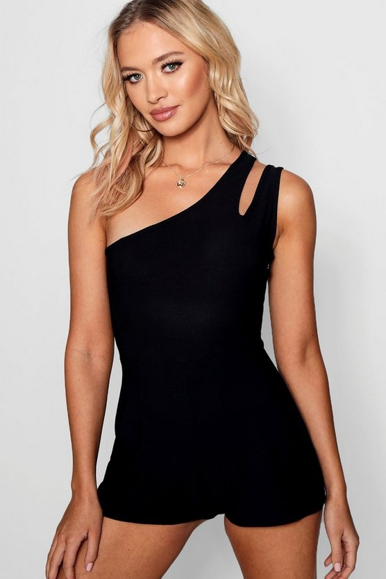 Rebecca One Shoulder Cut Out Playsuits by Boohoo