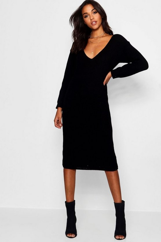 V Neck Oversized Midi Jumper Dress