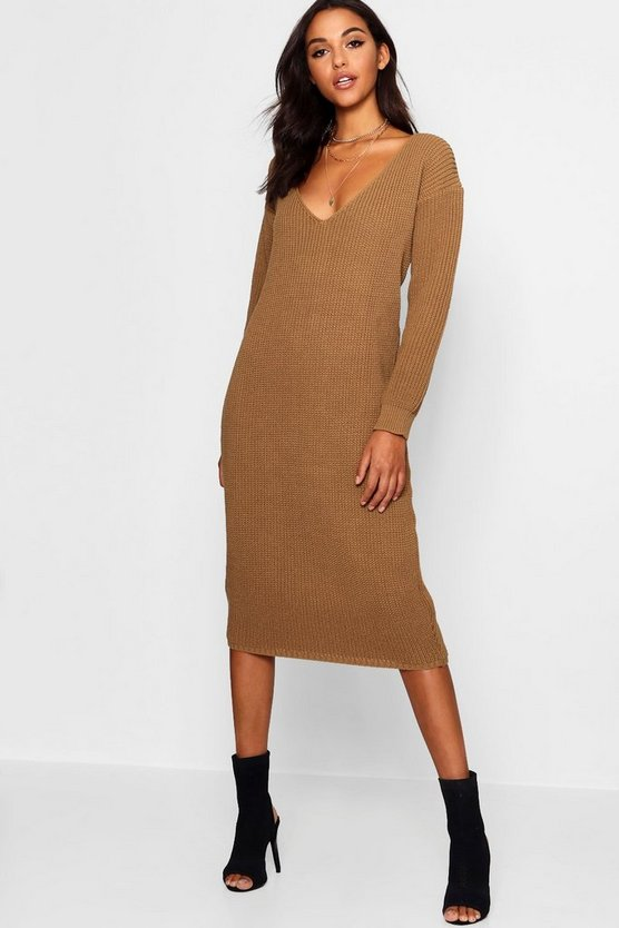 Annie V Neck Oversized Midi Jumper Dress