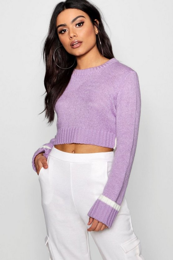 Soft Knit Contrast Back Crop Jumper