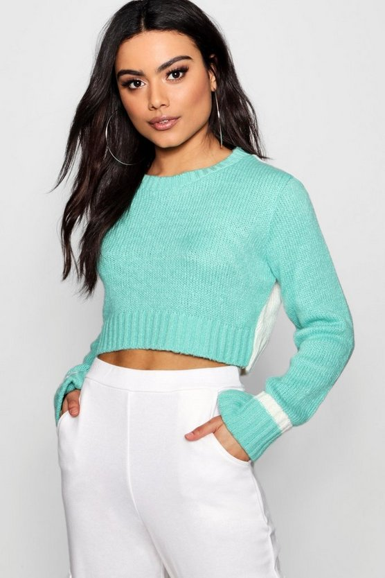 Hannah Soft Knit Contrast Back Crop Jumper
