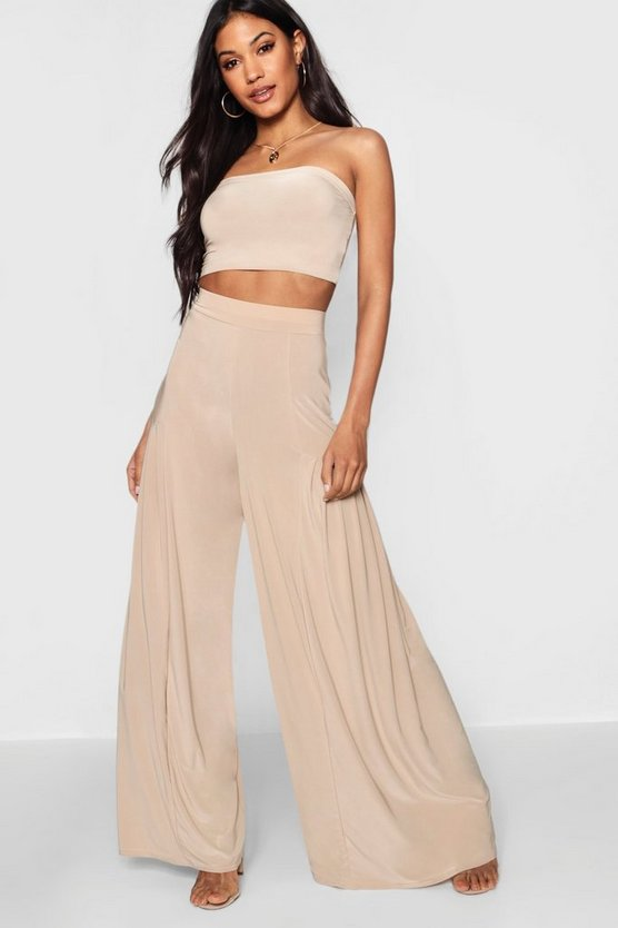 Pleated Slinky Wide Leg Trousers