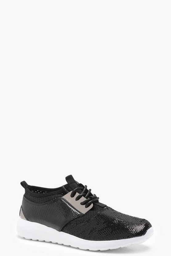 Lacey Sequin Lace Up Trainers
