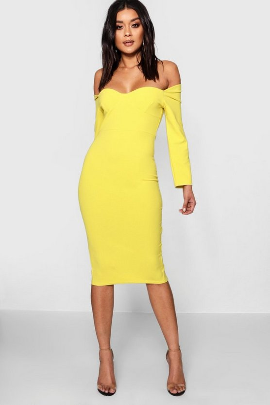 Formal Structured Stitching Bustie Midi Dress