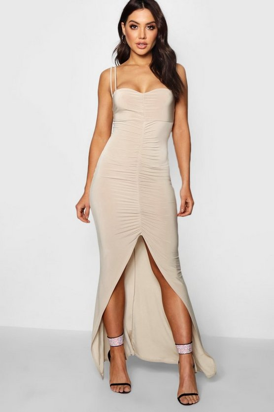 Slinky Gathered Fish Tail Maxi Dress